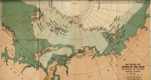 "The route the Fram, Nansen's ship during Polar expedition, ""took"" driving with ice after being frozen within..."
